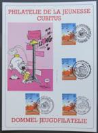 BELGIQUE 2578 FDC 1391 CUBITUS Dommel DUPA Comics Bande Dessinée Encart A5 + 4 Cachets Différents Jeugdfilatelie [GR] - Bandes Dessinées