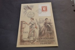 Carte Maximum Centenaire Du Timbre 1/05/1949 Paris Timbre Citex N°841 - Cartes-Maximum