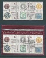 Australia 1990 Colonial Stamps Block Of 6 Fine CTO FDI With Gum + Miniature Sheet FU - 1990-99 Elizabeth II