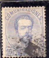 SPAIN ESPAÑA SPAGNA 1872 1873 KING AMODEO RE CENT. 10c USED USATO OBLITERE' - 1872-73 Reino: Amadeo I