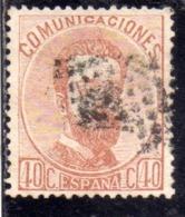 SPAIN ESPAÑA SPAGNA 1872 1873 KING AMODEO RE CENT. 40c USED USATO OBLITERE' - 1872-73 Reino: Amadeo I