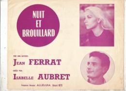 Partition Musicale Ancienne , JEAN FERRAT , ISABELLE AUBRET , NUIT ET BROUILLARD, Frais Fr 1.85e - Partitions Musicales Anciennes