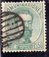 SPAIN ESPAÑA SPAGNA 1872 1873 KING AMODEO RE CENT. 50c USED USATO OBLITERE' - 1872-73 Reino: Amadeo I