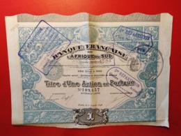 BANQUE FRANCAISE DE L'AFRIQUE DU SUD 1898 - Banca & Assicurazione