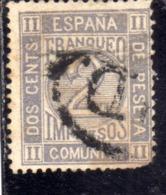 SPAIN ESPAÑA SPAGNA 1872 1873 NUMERAL CIFRA CENT. 2c USED USATO OBLITERE' - 1872-73 Reino: Amadeo I
