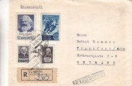 Russie - Lettonie - Lettre Recom De 1956 - Oblit Liepaja - Exp Vers Frankfurt - Karl Marx - Hockey Sur Glace - - 1923-1991 URSS