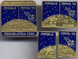 450-1 Space Russian Pins Set (4pins). Luna-9-10  Soviet Moon Program - Space
