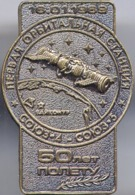 460-5 Space Russian Pin. Soyuz-4,-5. 50 Years 16 Jan. 1969 Baikonur. 1st Manned Orbital Station - Space