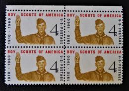 50 ANS DU SCOUTISME AMERICAIN 1960 - BLOC DE QUATRE NEUF ** - YT 679 - MI 772 - HAUT DE FEUILLE - Neufs