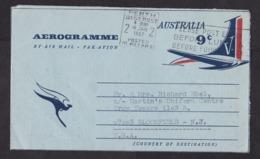 Australia: Stationery Aerogramme To USA, 1967, Airplane, Flying Kangaroo, Air Letter (minor Discolouring) - 1966-79 Elizabeth II