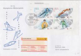 Germany Registered FDC 2002 Salt Lake City Olympic Games Souvenir Sheet Bonn (L50A) - Winter 2002: Salt Lake City
