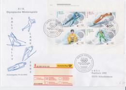 Germany Registered FDC 2002 Salt Lake City Olympic Games Souvenir Sheet Berlin (L50A) - Winter 2002: Salt Lake City