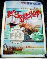 AFFICHE LITHO CHEMIN DE FER D'ORLEANS - PLAGES DE BRETAGNE(Hugo D'ALESI) En 1895 - Afiches