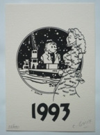 CHRISTIAN GOUX – CARTE DE VOEUX 1993 – NUMÉROTÉE – SIGNÉE - Ex-libris