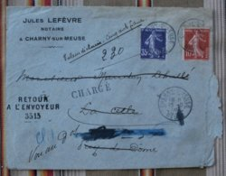 55 CHARNY  Enveloppe  Jules LEFEVRE Notaire Tampons Retour A L Envoyeur Chargé, Cachets Cire - France