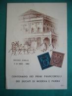 1952  CENTENARIO DEI PRIMI FRANCOBOLLI DEI DUCATI DI MODENA E PARMA    REGGIO EMILIA - Sellos (representaciones)