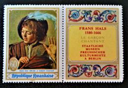 LE GARCON CHANTANT - TABLEAU DE FRANS HALS 1969 - NEUF ** - YT 297 - MI 319A - AVEC VIGNETTE ATTENANTE - Rwanda