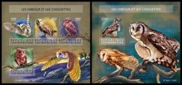 CENTRAL AFRICA 2015 - Owls - YT CV=40 €, 3900-3 + BF847 - Eulenvögel