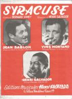 Partition Musicale Ancienne ,  HENRI SALVADOR , Yves Montand , Jean Sablon, SYRACUSE, Frais Fr 1.85e - Partitions Musicales Anciennes