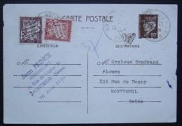 Montreuil Jean Prince 1942 Entier Postal Pétain Taxé à 80 Centimes (50+30) - Poststempel (Briefe)