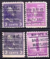 USA Precancel Vorausentwertung Preo, Locals Maryland, Baltimore L-37 IHS, 4 Diff. - Vereinigte Staaten