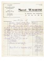 Facture TOLERIE Chaudronnerie Automobile Soudure MARCEL WALQUISE - ANGERS - 1959 Réparation ARONDE Voiture - Automobile