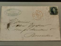 Lettre, 1854, Cache Bruxelles Et Anvers Avec Timbre 20c - Andere