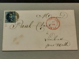 Lettre, 1854, Cache Bruxelles Et Anvers Avec Timbre 20c - Belgium
