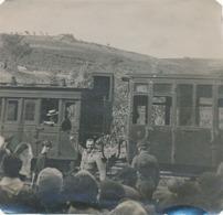 COLLIOURE- GARE DE COLLIOURE - MOBILISATION DE 1914 - DEPART D'UN MOBILISE (TAMPON DE LA PHARMACIE MANYA) (DIM 11 X 11.) - Guerre, Militaire
