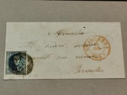 Lettre, 1852, Cache Charleroi Et Bruxelles Avec Timbre 10c - Belgique