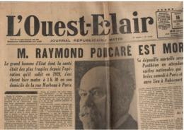 Ouest-Eclair - 16 Octobre 1934 - Mort Président Poincaré - édition Normandie - Kranten