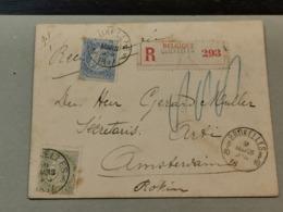 Enveloppe 1897, Recommande Avec Timbres 20 Et 25C, Leopold II Et Timbre Exposition Bruxelles 1897 - Autres