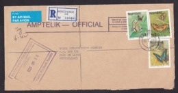 Namibia: Registered Airmail Official Cover To Netherlands, 1996, 5 Stamps, Butterfly, Insect, Air Label (roughly Opened) - Namibia (1990- ...)