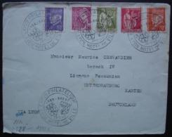 Lyon Brest 1943 Exposition Philatélique, Oblitérée Avec 5 Timbres Différents, Censure Wehrmacht à L'arrière - Poststempel (Briefe)