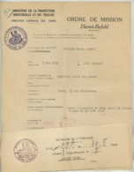 Guerre 1939-45 . Ordre De Mission Direction Générale Des Mines . Vichy 28 Août 1940 . Ingénieur Des Mines Allant à Paris - Documents