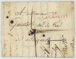 56 LA CHARITE / LàC 1820 Pour Gautier Marchand De Fer à Angers . Taxe 4 Décimes . - 1801-1848: Precursors XIX