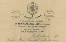 Facture 1871 Calvairac à Séville . Grands Vins D'Espagne , De Portugal Et De Madère . Gardien De Maltaverne à St-Hilaire - France