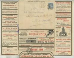 Entier Postal 15 C Sage 1896 La Lettre-Annonces à Lyon . Publicités Frères Lumière , Absinthe Ducros , Chocolat Menier . - Postwaardestukken