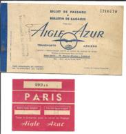 Billet De Passage - Aigle Azur - Transports Aériens - Paris Saigon - Biglietti Di Trasporto