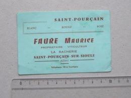 SAINT-POURCAIN-SUR-SIOULE (03): Carte De Visite Ancienne - LA RACHERIE Viticulteur FAURE M. - Téléphone 12 à CONTIGNY - Cartes De Visite