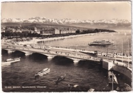 Zürich: 2x TRAM / STRAßENBAHN, MERCEDES 170V, BATEAUX/BOATS/SCHIFFE - Quaibrücke, Utoquai - (Schweiz/Suisse) - Toerisme