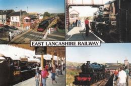 Postcard East Lancashire Railway LMS Steam Train At Bury Ramsbottom & Rawtenstall My Ref  B23722 - Stations With Trains