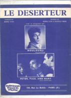 Partition Musicale Ancienne  , MOULOUDJI ,  LE DESERTEUR , Boris Vian , Frais Fr 1.85e - Partituren