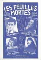 Partition Musicale Ancienne  , YVES MONTAND , LES FEUILLES MORTES , Frais Fr 1.85e - Partitions Musicales Anciennes