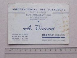 BEYNAT (19): Carte De Visite Ancienne MODERN'HOTEL DES VOYAGEURS - Restaurant Bar Spécialités - VINCENT Chasse Pêche - Cartes De Visite