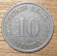 N°7 MONNAIE ALLEMANDE 10 PFENNIG 1901A - 10 Pfennig