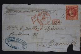 Front Of Cover  Valencia  To Marseill  PD In Square 1861  Edf. 65 With  Petit Chiffre 1896 = Marseille - 1850-68 Regno: Isabella II