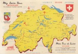Postcard Map My Swiss Tour Switzerland Schweiz Suisse Svizzera My Ref  B23723 - Maps