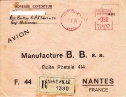 GABON - 1970 - EMA Sur Lettrre Recommandée Par Avion De Libreville Pour La France - Gabon (1960-...)