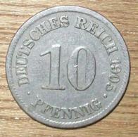 N°9 MONNAIE ALLEMANDE 10 PFENNIG 1905A - 10 Pfennig